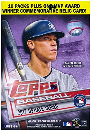 Topps Baseball 2017 Update Series Blaster Box (10 Packs Plus One MVP Award Relic Card)