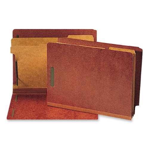 Red End Tab Folder (Smead End Tab Pressboard Classification File Folder with SafeSHIELD Fasteners, 2 Dividers, 2