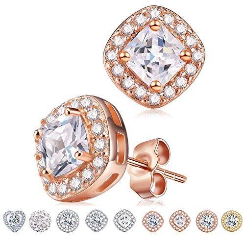 - Rose Gold Cube Diamond Stud Earrings,Cat Eye Jewels S925 Sterling Silver AAA Halo Cubic Zircon Women Earring E015-RG
