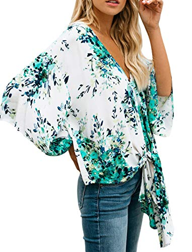 QIFENG Women Floral Print Chiffon Tops Bat Sleeve Deep V Neck Tie in Front Tops Blouses White and Green 3XL