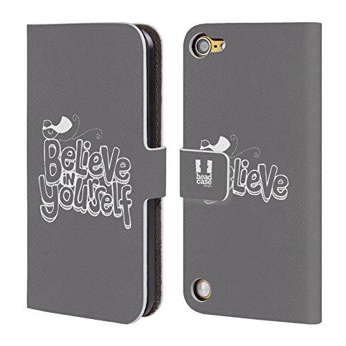 Head Case Designs Believe In Yourself Tipografia Fatta A Mano Cover a portafoglio in pelle per iPod Touch 5th Gen / 6th Gen