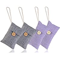NUOLUX 4 Pack Natural Air Purifying Bag Bamboo Charcoal Pouch Air Freshener(2pcs 100g + 2pcs 90g)