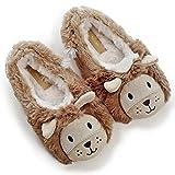 Kids' Cute Lion Plush Fleece Memory Foam House Slippers w/Long Tail (10 M US Toddler, Brown)