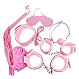 Zcargel 7pcs Fetish Bondage Set Bed Restraint Trainer Complete Gear Cuffs Shackles Whiff Cuff Open Mouth Gag Whip Rope Great Bdsm Sm Game Tool for My Sweat Heart~ Cute Pink