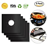 5 burner stove top cover - 5-Pack PTFE Non-stick Gas Range Protectors, Black Stovetop Burner Liner Cover- Double Thickness 0.2mm, Reusable, Dishwasher Safe, Easy to Clean