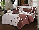 New Season Home Fall Dance Duvet Cover Set, Queen, Beige/Brown, 3 Piece