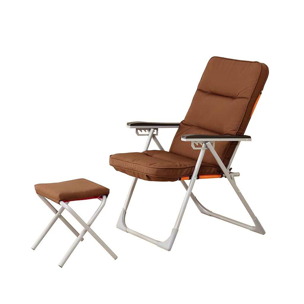 QZ HOME Stühle, Klappstuhl Sonnenliege Mittagspause Stuhl Sessel Tragbar Liegestuhl Mit Fußstütze 4 Farben (Farbe : Braun)