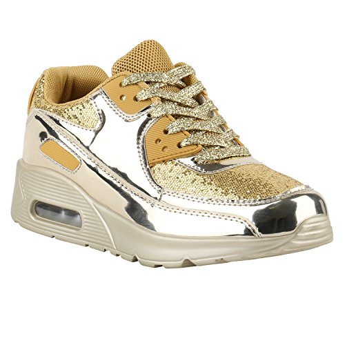 Stiefelparadies Damen Sportschuhe Lack Muster Sneakers Profilsohle Schnürer Sneaker Low Laufschuhe Runners Metallic Neon Leder-Optik Camouflage Glitzer Schuhe Flandell Gold Gold