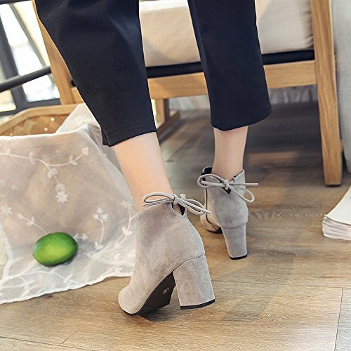 de Botas Zapatos 38 Gamuza Tacón Botas Y con Europeos CXY Alto nbsp;Segundo Americanos Cuero Gruesa de de X5gPqn