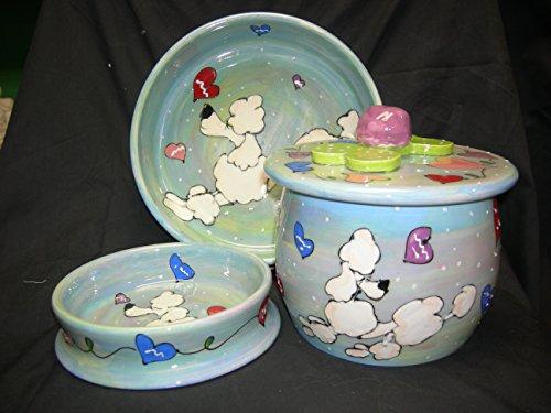 8 inch ceramic dog bowl set - 6