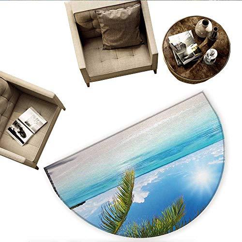 Summer Half Round Door mats Tropical Paradise Beach with Coconut Palms Crystal Ocean Clear Sky Bathroom Mat H 70.8