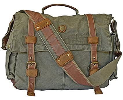 Amazon.com | Vintage Army Green Laptop Canvas Leather Messenger ...