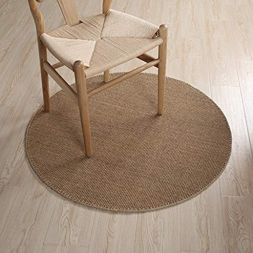 YJWOZ Solid Color Sisal Hand-Stitched Carpet Can Be Used for Balcony Window Tatami Diameter 100cm Carpet