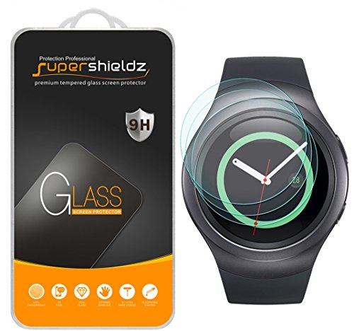 (3 Pack) Supershieldz for Samsung Gear S2 and Gear S2 Classic Tempered Glass Screen Protector, Anti Scratch, Bubble Free (S2 Samsung Screen)