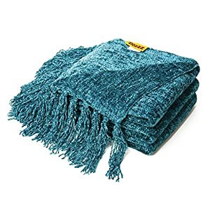 DOZZZ Decorative Chenille Cozy Couch Throw Blanket Cover with Fringe for Sofa, Chair, Bed Furniture,Farmhouse Home decor, Ivory Gift Blanket by by DOZZZ