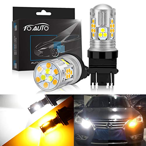 3157 Switchback LED Bulbs 3155 3457 4157 P27W with Projector for Turn Signal Lights DRL White/Yellow Dual Color Super Bright Lamp