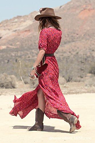 Vestido Estampadas Vintage 4 Manga Largos Mujer Cuello Vestidos Elegantes Largo 3 BOLAWOO V Verano Rojo Irregular Boho Playa De Hippies v0TWnqSw