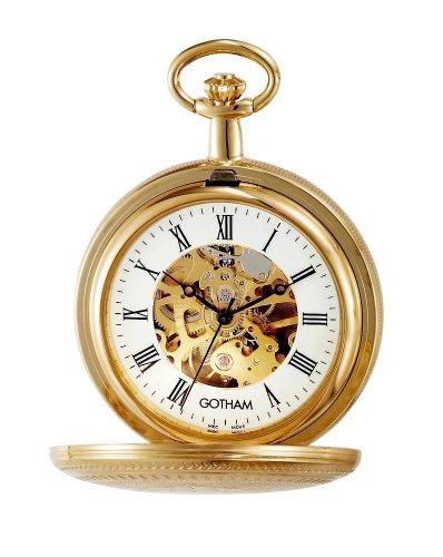 (Gotham Men's Gold-Tone Mechanical Pocket Watch with Desktop Stand # GWC14051GR-ST )