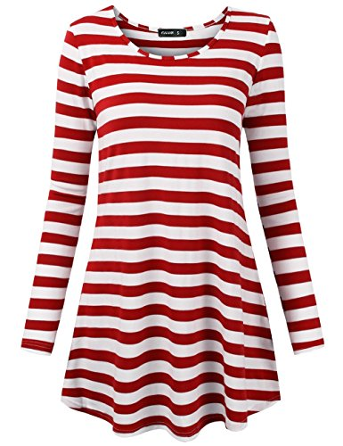 FULVM Women's Tunic Knit Top Boat Neck Elbow Sleeves Loose Fit Striped Tee Red White ()