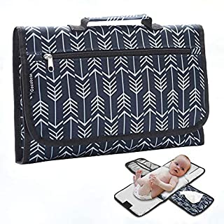 Portable Diaper Changing Pad,COCOBELA Waterproof Portable Changing mat for Moms, Dads and Babies,Built-in Memory Foam Head Pillow, Pockets for Diapers, Wipes and Creams