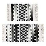 Pauwer Cream and Black Geometric Cotton Area Rug Set 2 Piece 2'x4.2'+2'x3' Machine Washable Printed Cotton Rugs with Tassel Hand Woven Cotton Rug Runner for Kitchen, Living Room, Bedroom