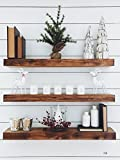 New England Wood Crafters Wooden Floating Shelves - Wall Decor for Home Kitchen, Bathroom, Bedroom - Rustic Pine Custom Office Organizer with Mounting Brackets - Set of 3 (7.5x1.5) (Dark Walnut, 36'')