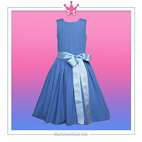 Märchenwerkstatt Satinschleife Linie Tupfen Kleid Sommer A Hellblaue 8Aw80qx