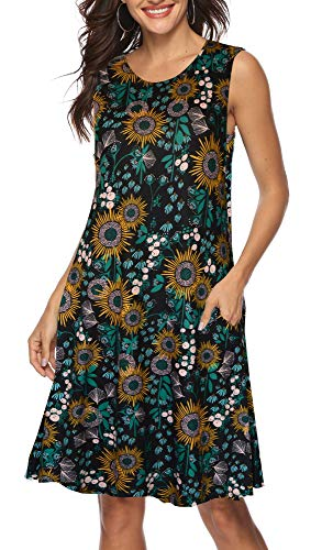 A-line Style Sleeveless Dress - ETCYY Women's Summer Casual Sleeveless Floral Printed Swing Dress Sundress with Pockets