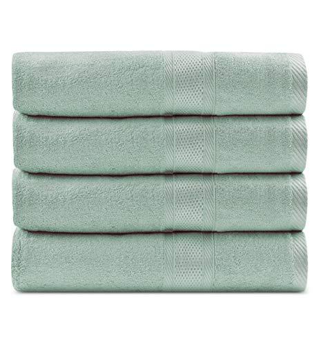 Caihong Organic Bamboo Fiber Cotton Large Bath Towel Set - Natural, Ultra Absorbent and Eco-Friendly - (4 Pack 27 x 55 inch) - Green