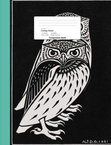 Owl Theme College Ruled Composition Book: Trio of Owls Monochromatic Cover, Lined Bound Paper - Monochromatic Trio