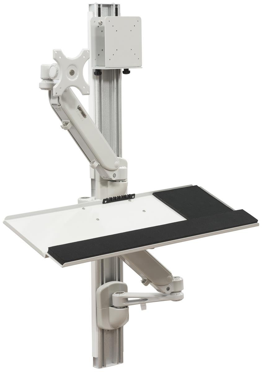 Displays2go Wall Mounted Computer Station, Monitor Mount, CPU Holder, Adjustable Arms (DWSSW01WT)