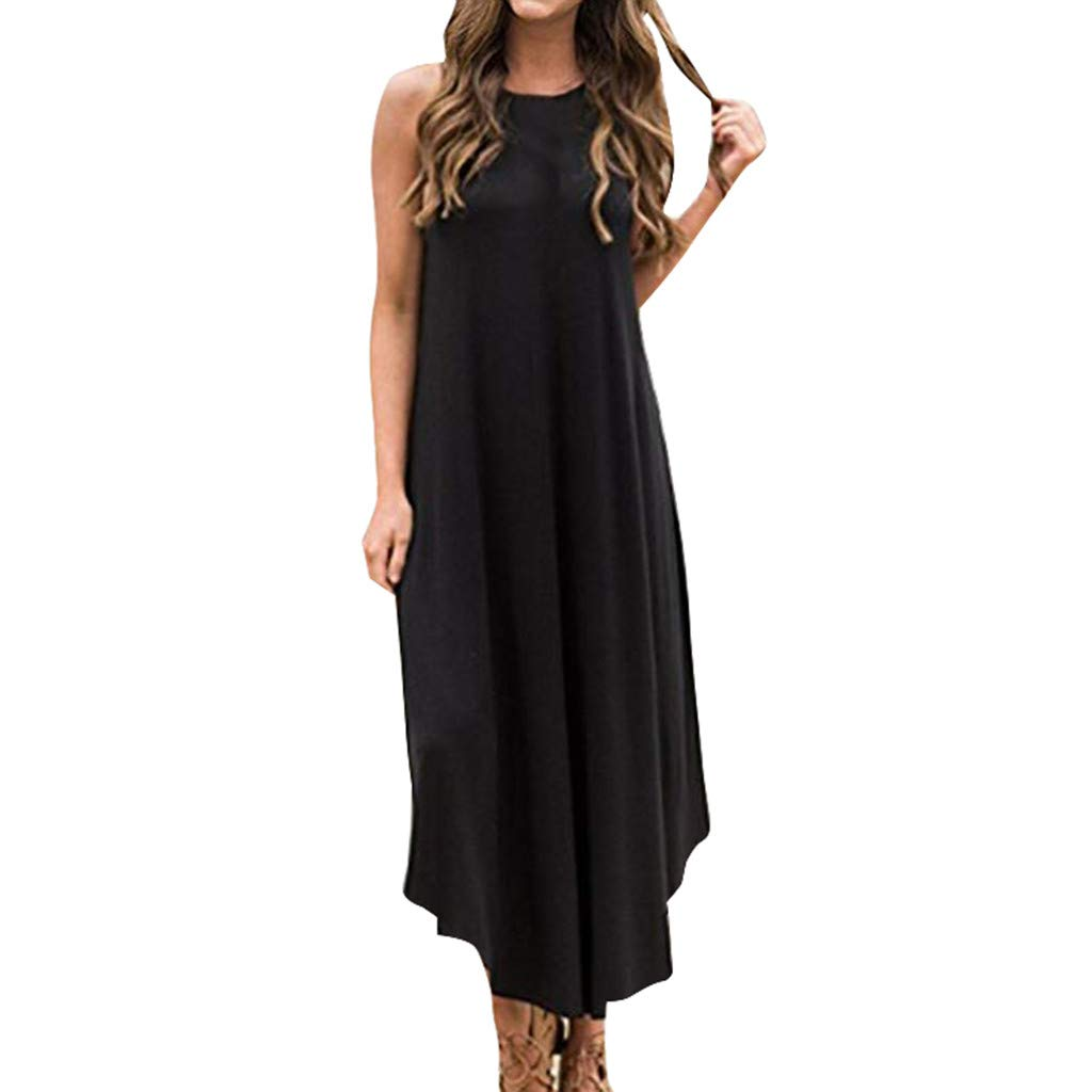 Giulot Womens Sleeveless Racerback Split Loose Plain Maxi Dresses Casual Long Dresses Simple T-Shirt Loose Dress