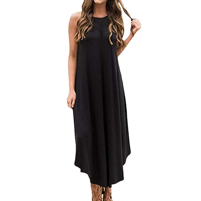 8385c8b21cb XLnuln Women s Loose Swing Dress Irregular Dress Summer Casual Solid  Sleeveless Bodysuits Beach Maxi Dress Party