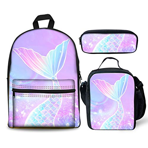 Foruidea Galaxy Mermaid Rainbow Backpacks Set 3 Pieces Lunch Bag Pen Bag for Kids Back to School Lightweight Daypack for Boys Girls