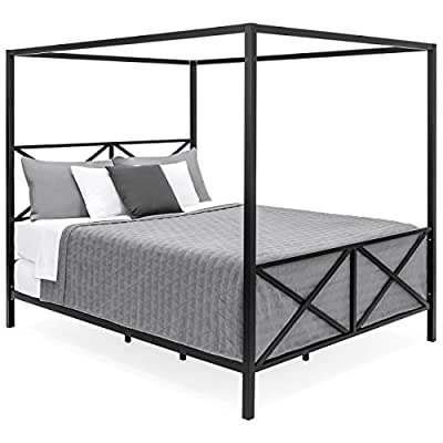 Best Choice Products Modern 4 Post Metal Canopy Queen Bed Frame w/Mattress Support, Headboard, Footboard from Best Choice Products