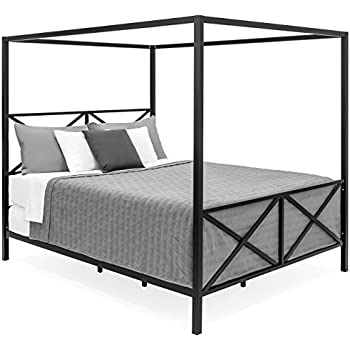 Amazon.com: Best Choice Products Modern 4 Post Canopy Queen Bed w ...