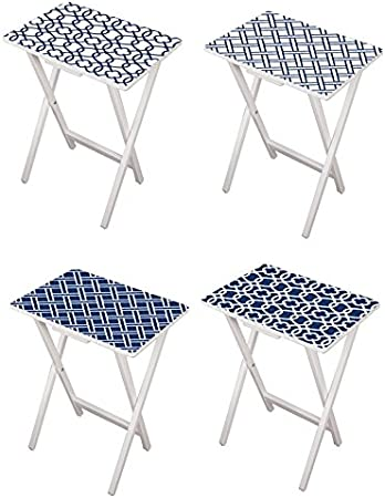 Cape Craftsmen Mod Blue And White Tv Tray Set With Stand Set Of 4 Kitchen Dining
