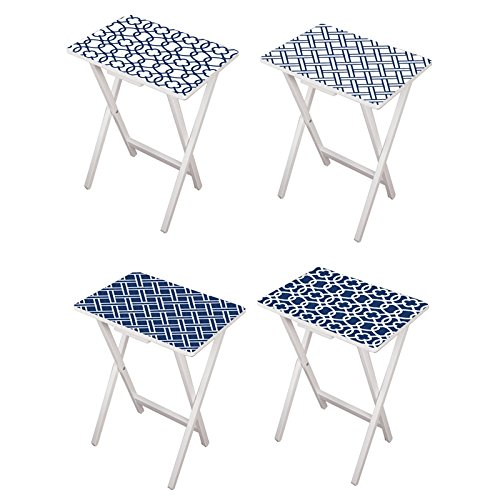 Cape Craftsmen Mod Blue and White TV Tray Set with Stand, Set of 4 ()