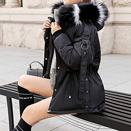 Cuello Invierno Con Abrigos Manga Piel Grueso Acolchado Abrigo De Ropa Chaqueta Capucha Acolchada Algodón Corto Negro Plumón Cálido Exterior Larga Mujer Sintética Casual Para xqtxa60Anw