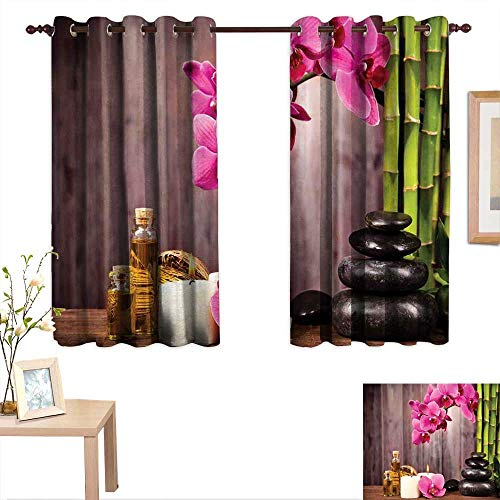 (Luckyee Spa Decor Drapes for Living Room Spa Orchid Flowers Rocks Bamboo Asian Style Aromatherapy Massage Therapy 63