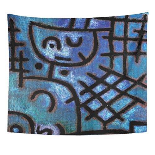 Semtomn Tapestry Artwork Wall Hanging Blue Cubism Paul Klee Captive Bauhaus Abstract 60x80 Inches Tapestries Mattress Tablecloth Curtain Home Decor Print