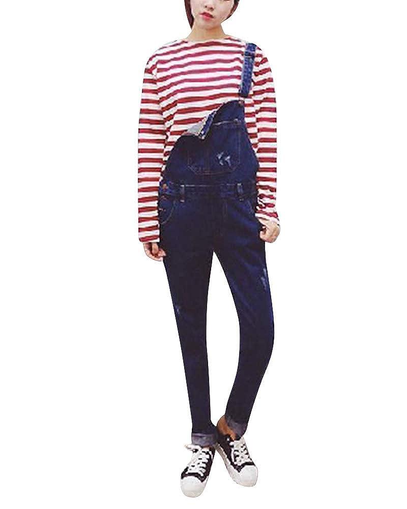 Mujer Suelto Petos Boyfriend Vaqueros Overalls Denim Jeans ...