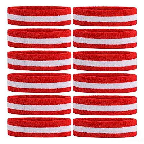 OnUpgo 12PCS Headbands Sweat Band for Men & Women - Sports Headband Moisture Wicking Athletic Cotton Terry Cloth Sweatband Sweat Absorbing Head Band (Red/White/Red)