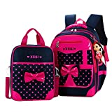 JiaYou Primary Girls Students Polyester School Backpack and Lunch Bag 2 Sets/3 Sets(25L,StyleA Rose2Sets)