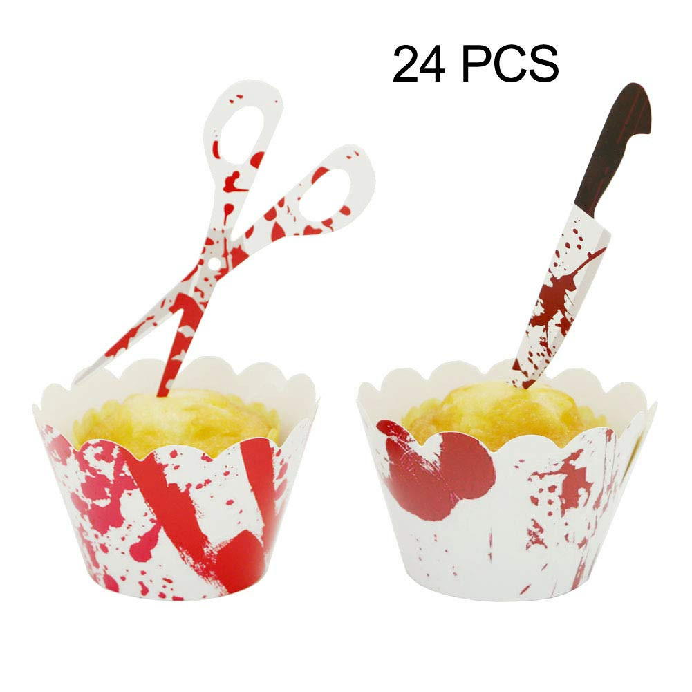 YuBoBo Halloween Cupcake Toppers Wrappers, 24 Pieces Horror Cake Decoration Bloodstain Cake Knife Scissors Food Decor Party Suppliers