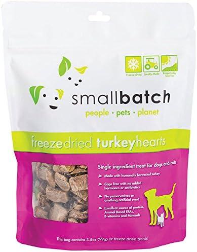 Small Batch Freeze Dried Natural Heart Treats, 3.5 Ounces (Turkey)