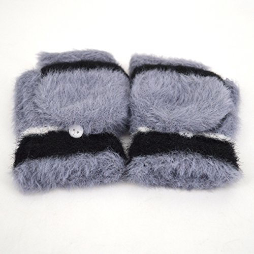 Women Cute Half Finger Gloves Flip Top Convertible Mittens Plush Faux Fur Mitts(Grey) by Mily (Image #7)