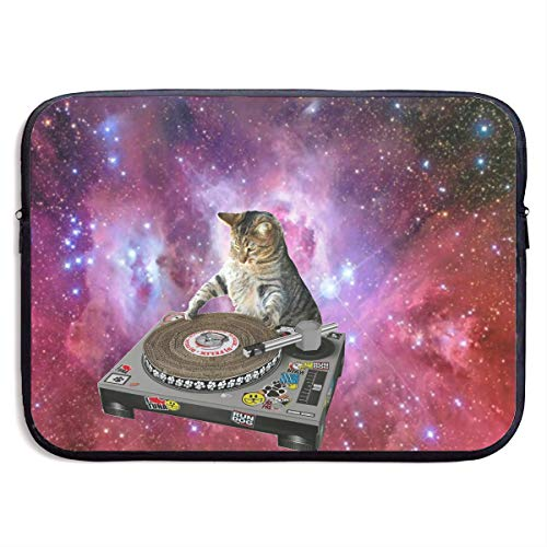 (Jingclor Business Briefcase Sleeve Space Cat Playing Disk Portable Laptop Protective Bag for MacBook Pro/MacBook Air/Asus/Dell)