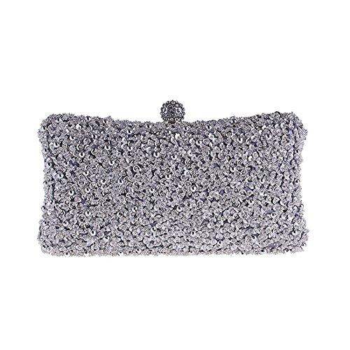 della borsa Color borsa festa nuziale della Silver di perline della della Hungrybubble borsa borsa Borsa della Black della borsa della frizione Pwfqgnw64