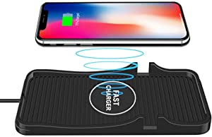 Wireless Charger Car Charging Pad Non-slip 10W /7.5W /5W QI Certified Phone Fast Charger Mount Compatible iPhone Xs/Xs Max/XR/X/ 8/8 Plus, Samsung Galaxy S10 /S10+/S9 /S9+/S8 /S8+ And More (Black)